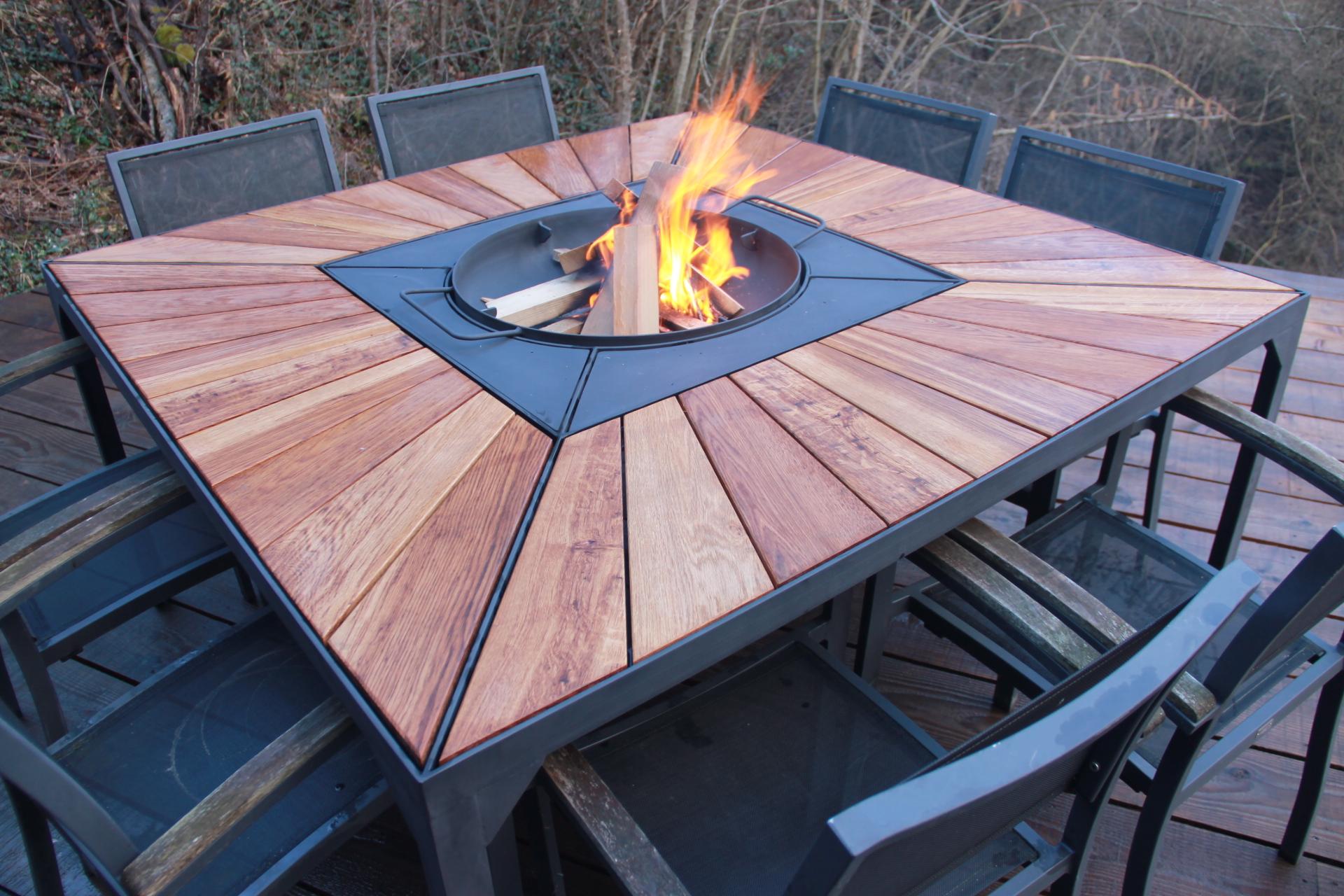 Table Bois Metal Exterieur bolga, la table à feu par bonobo